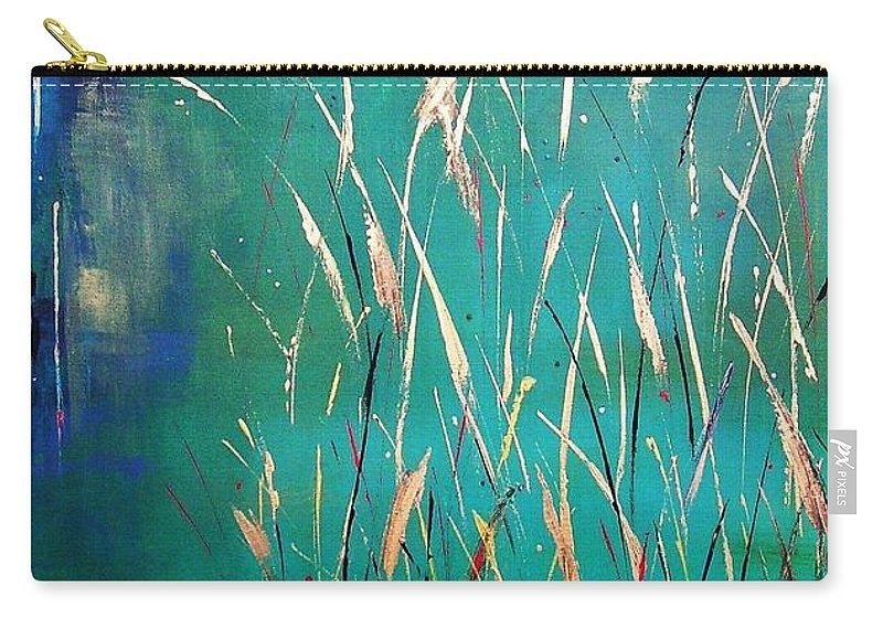 Abstract Landscape Carry-all Pouch featuring the painting A Touch Of Teal by Frances Marino