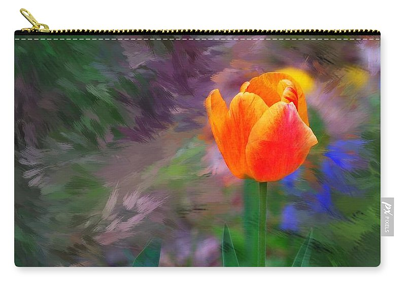 Floral Carry-all Pouch featuring the digital art A Tulip Stands Alone by David Lane