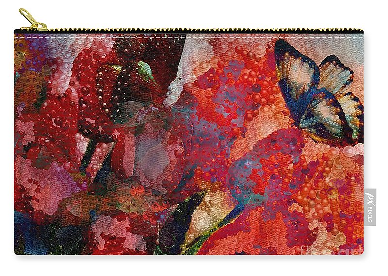 A Very Fairy Tale Of Two Butterflies In Pearlesque Carry-all Pouch featuring the painting A Very Fairy Tale Of Two Butterflies In Pearlesque by Catherine Lott