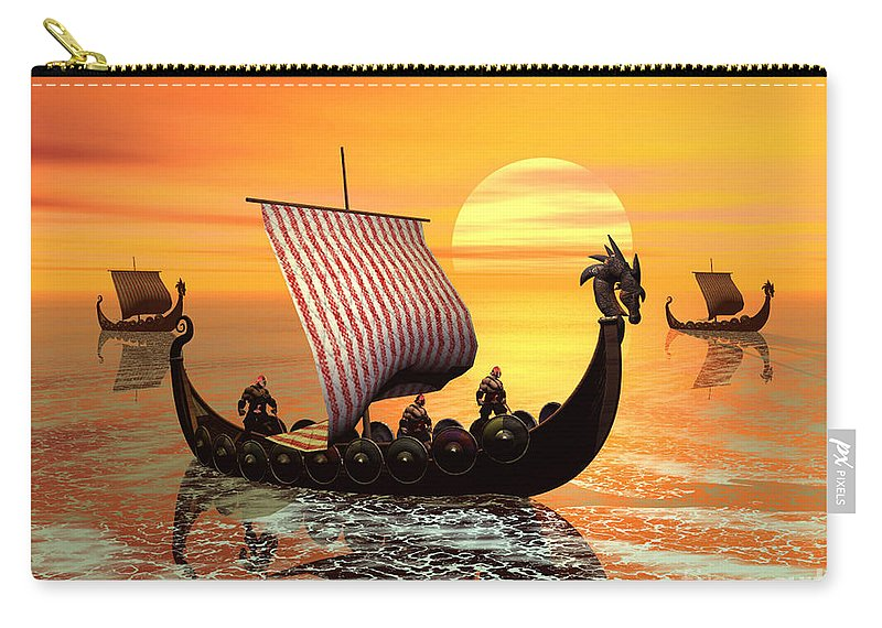 The Vikings Are Coming Carry-all Pouch featuring the digital art The Vikings Are Coming by John Junek