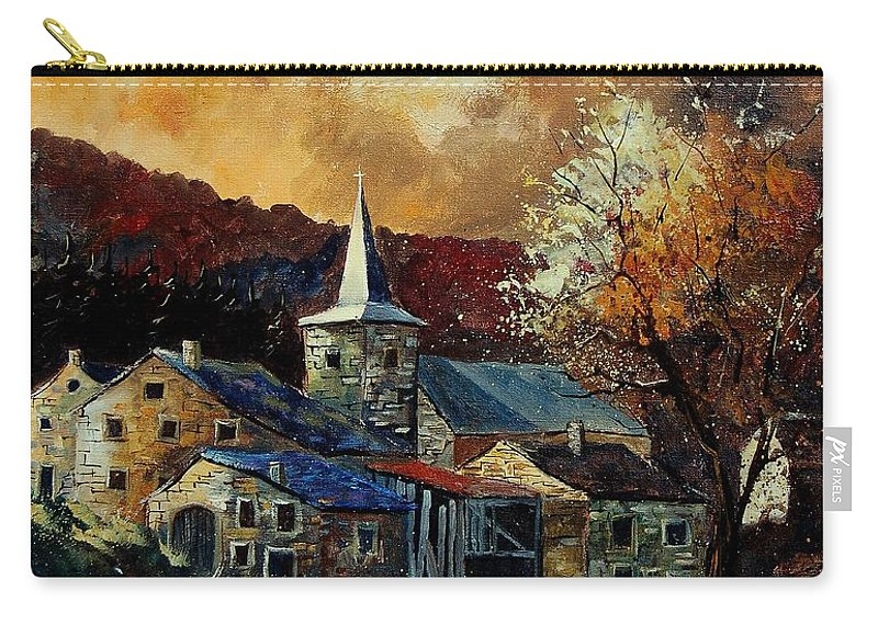 Tree Carry-all Pouch featuring the painting A Village In Autumn by Pol Ledent
