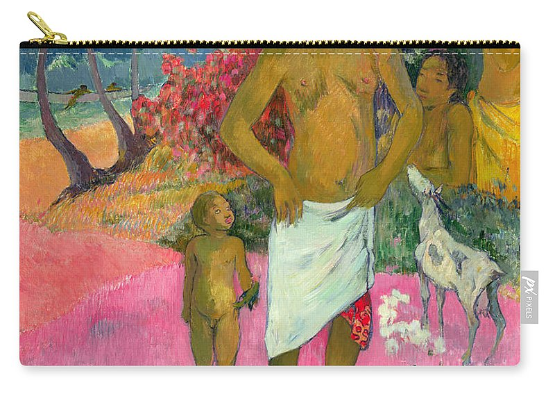 Paul Gauguin Carry-all Pouch featuring the painting A Walk By The Sea by Paul Gauguin