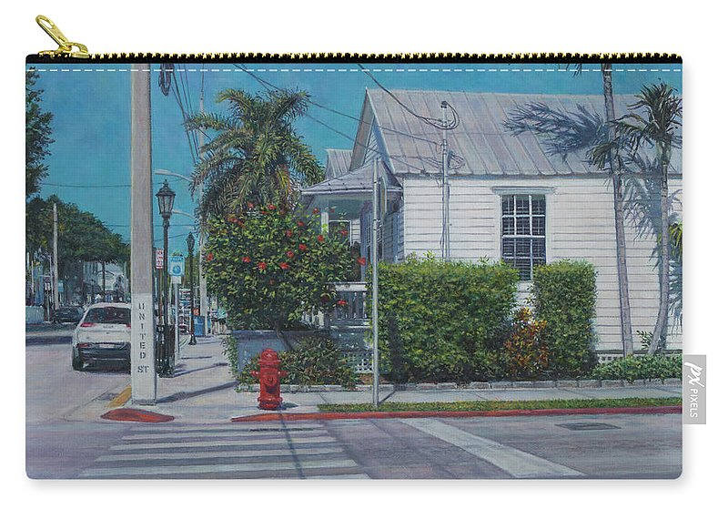 Key West Carry-all Pouch featuring the painting A Walk In Key West by David P Zippi