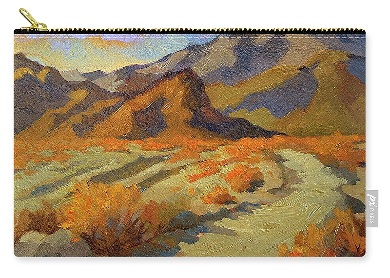 Walk In La Quinta Cove Carry-all Pouch featuring the painting A Walk In La Quinta Cove by Diane McClary