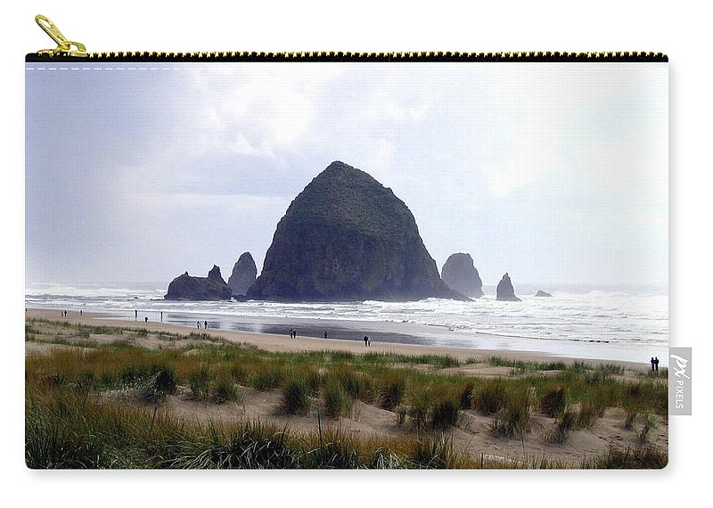 Cannon Beach Carry-all Pouch featuring the photograph A Walk In The Mist by Will Borden