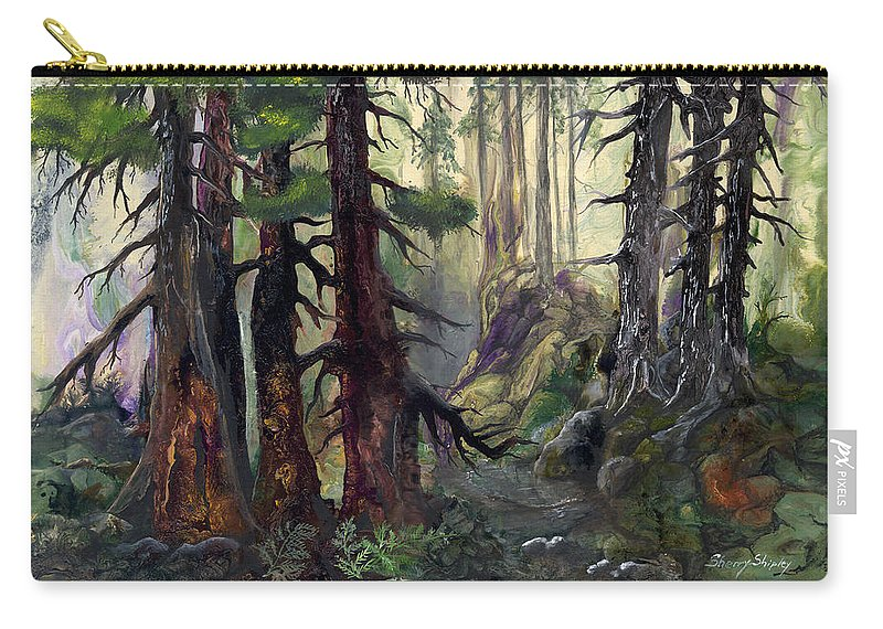 Forest Carry-all Pouch featuring the painting A Walk In The Woods by Sherry Shipley