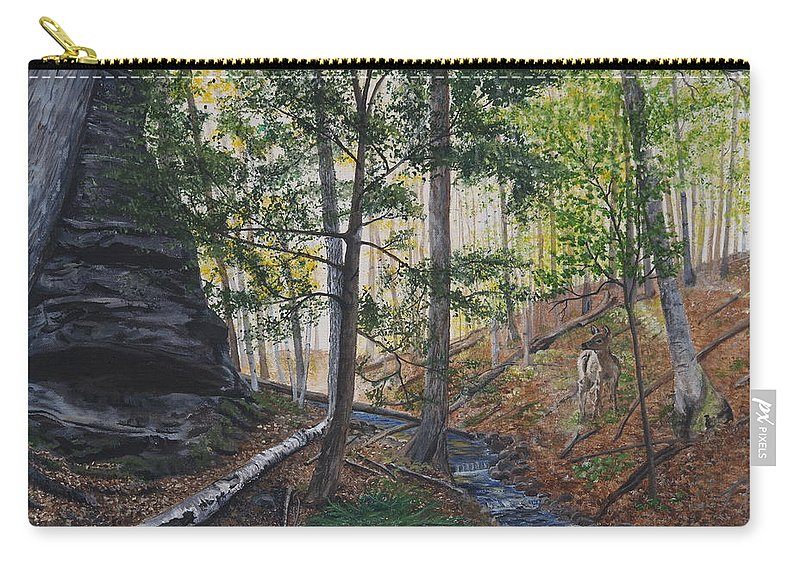 Woods Carry-all Pouch featuring the painting A Walk In The Woods by Vicky Path