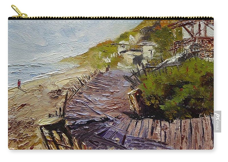 Beach Carry-all Pouch featuring the painting A Walk On The Beach by Barbara Andolsek