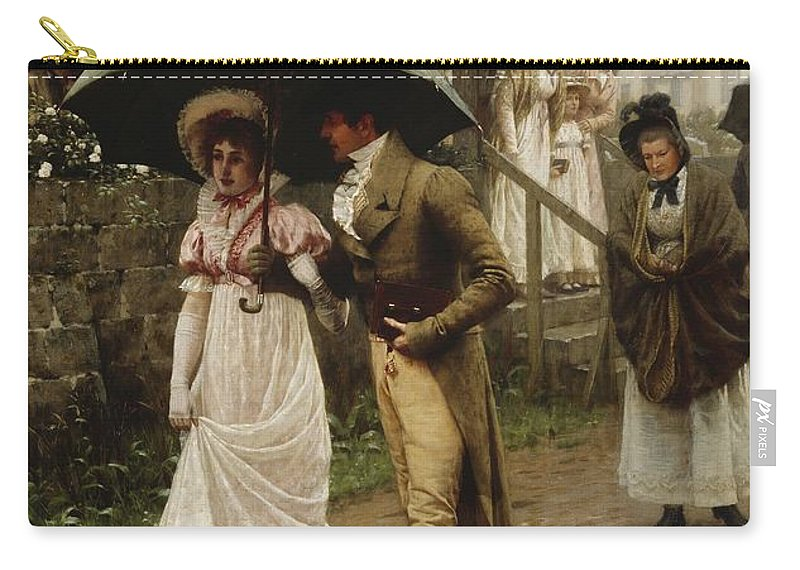A Wet Sunday Morning Carry-all Pouch featuring the painting A Wet Sunday Morning by Edmund Blair Leighton