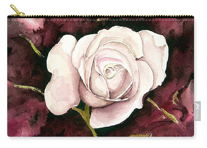 Flower Carry-all Pouch featuring the painting A White Rose by Sam Sidders