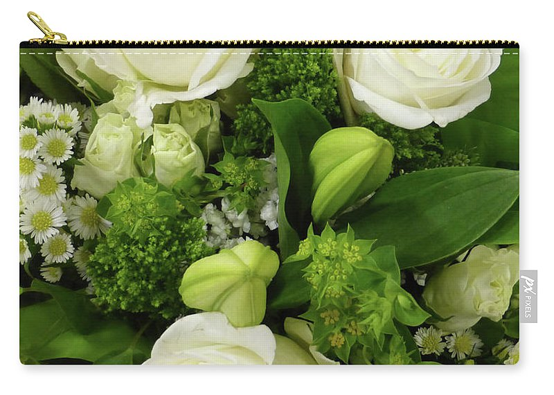 White Rose Carry-all Pouch featuring the photograph A White Roses Bouquet For You by To-Tam Gerwe