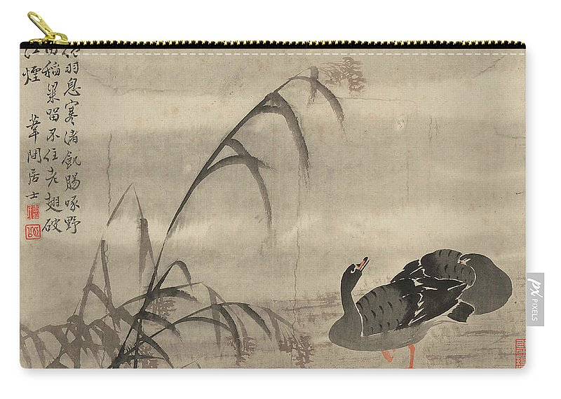 A Wild Goose Carry-all Pouch featuring the painting A Wild Goose by Bian Shoumin