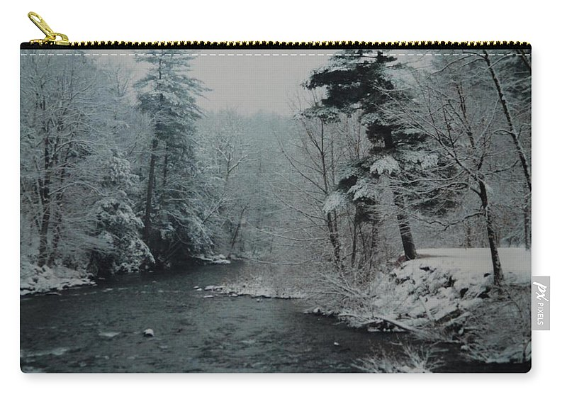 B&w Carry-all Pouch featuring the photograph A Winter Waterland by Rob Hans