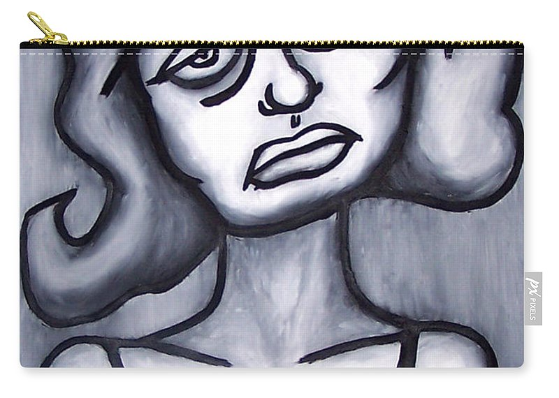 Portait Carry-all Pouch featuring the painting A Woman by Thomas Valentine