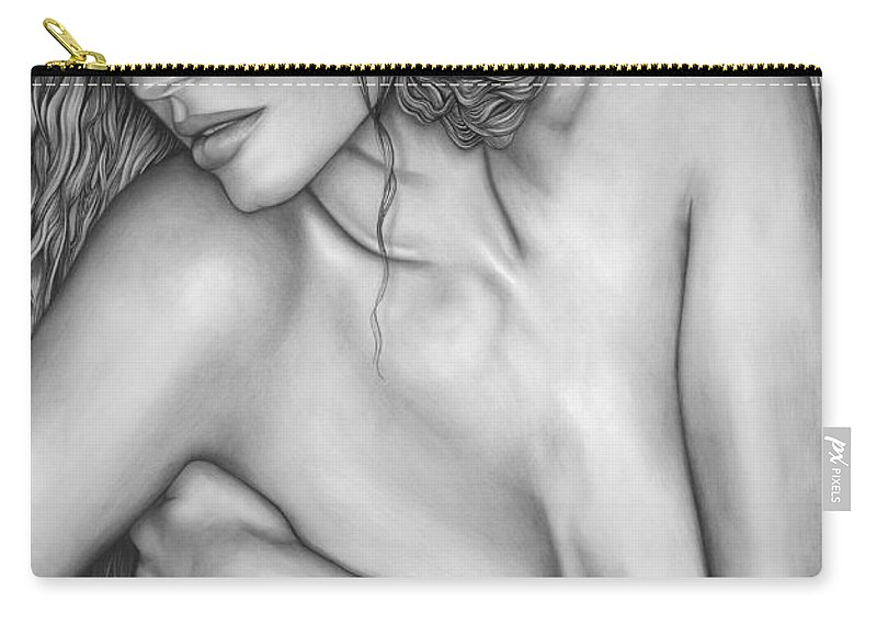 A Woman's Beauty Carry-all Pouch featuring the drawing A Womans Beauty by Larry Lehman