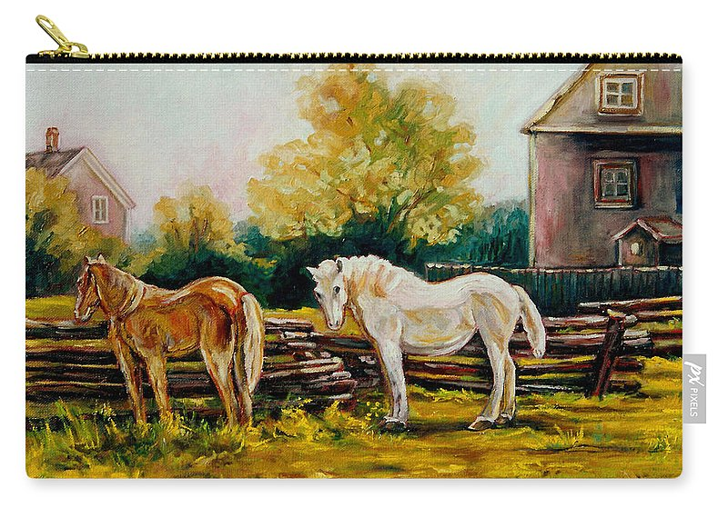 Horses Carry-all Pouch featuring the painting A Wonderful Life by Carole Spandau