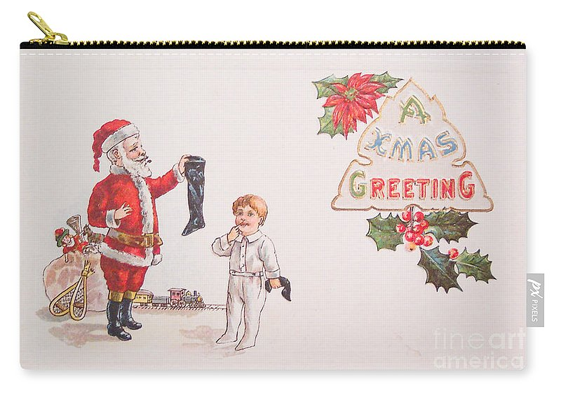 A Xmas Greetings With Santa And Child Vintage Card Carry-all Pouch featuring the painting A Xmas Greetings With Santa And Child Vintage Card by R Muirhead Art
