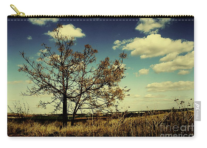 Wide Angle Carry-all Pouch featuring the photograph A Yellow Tree In A Middle Of A Dry Field - Wide Angle by Idan Badishi
