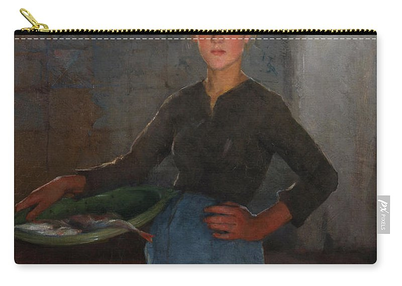A Zandvoort Fishergirl Carry-all Pouch featuring the painting A Zandvoort Fishergirl by Elizabeth Adela Stanhope Forbes