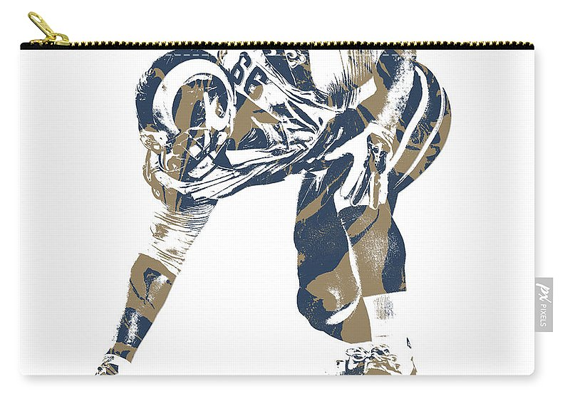 Aaron Donald Carry-all Pouch featuring the mixed media Aaron Donald Los Angeles Rams Pixel Art 11 by Joe Hamilton