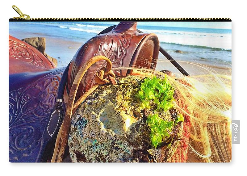 Ranching Carry-all Pouch featuring the photograph Abalone On Saddle by JoJo Brown