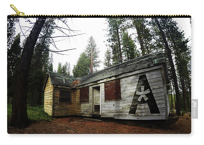 Dilapidated Carry-all Pouch featuring the photograph Abandoned Asterisk Logo Poster by Aaron James