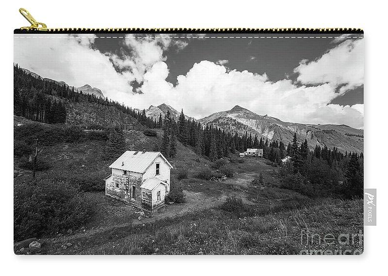 Colorado Landscape Photography Carry-all Pouch featuring the photograph Abandoned Home In Silverton In Black And White by Twenty Two North Photography