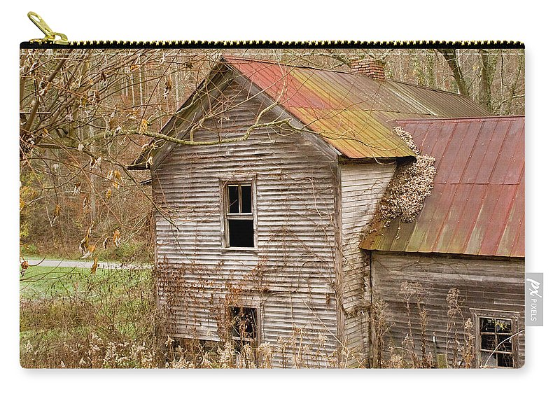 Abandoned Carry-all Pouch featuring the photograph Abandoned House With Colorful Roof by Douglas Barnett