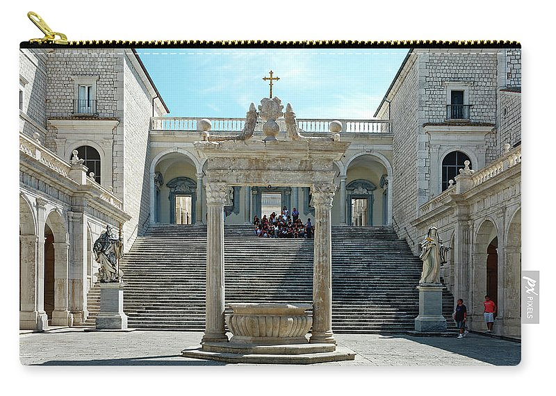 Courtyard Carry-all Pouch featuring the photograph Abbey Of Montecassino Courtyard by Sally Weigand