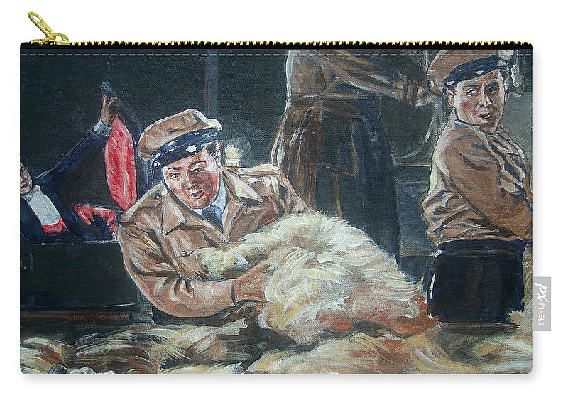 Comedy Carry-all Pouch featuring the painting Abbott And Costello Meet Frankenstein by Bryan Bustard