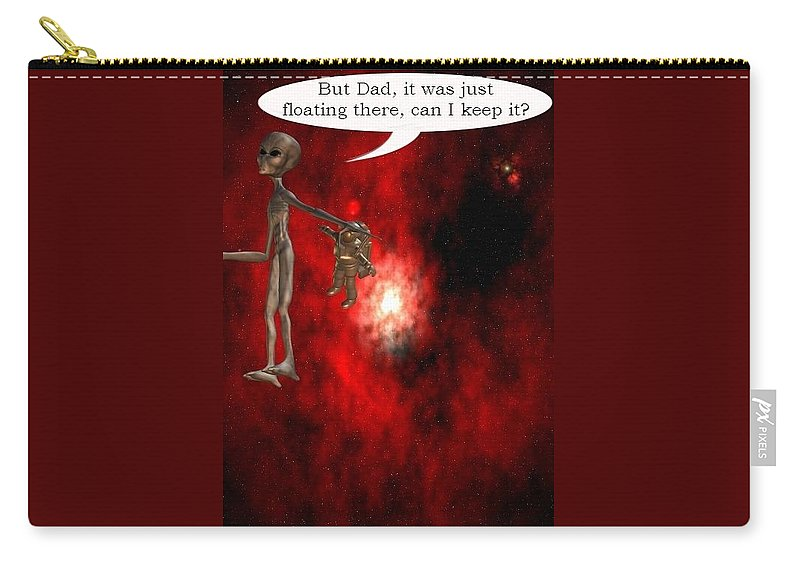 Artrage Artrageus Comics Cartoon Space Aliens Astronaut Carry-all Pouch featuring the digital art Abducted by Robert aka Bobby Ray Howle