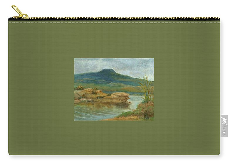 Oil Landscape Carry-all Pouch featuring the painting Abiquiu Lake Cloudy Day by Phyllis Tarlow