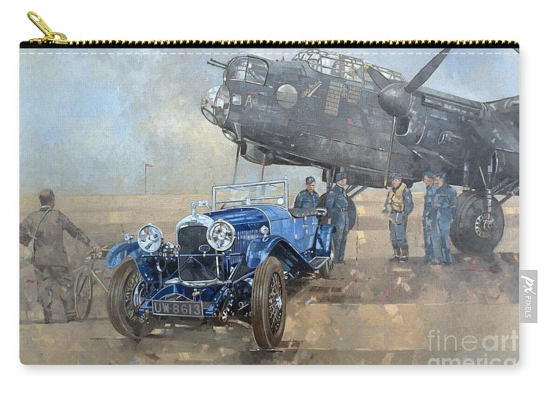 Car; Vehicle; Airplane; Aeroplane; Plane; Military; Air Force; Vintage; Classic Cars; Vintage Car; Nostalgia; Nostalgic; Blue Lagonda Carry-all Pouch featuring the painting Able Mable And The Blue Lagonda by Peter Miller