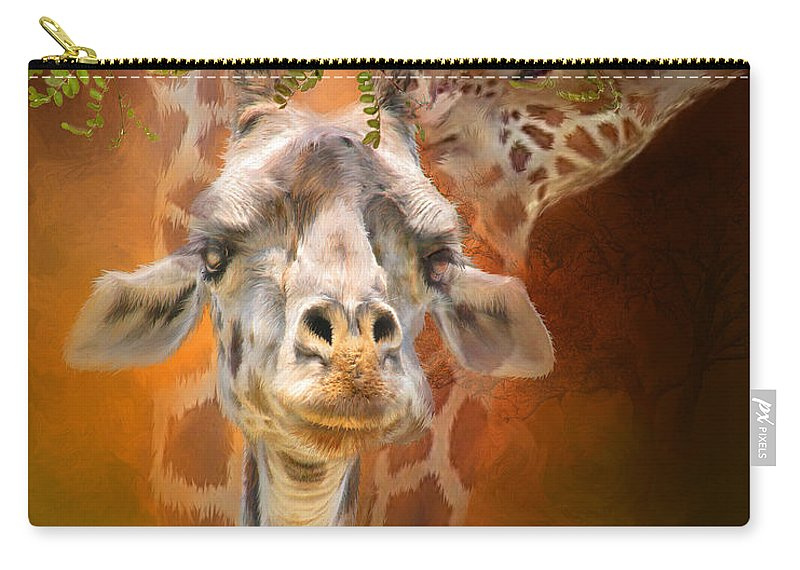 Giraffe Carry-all Pouch featuring the mixed media Above It All by Carol Cavalaris