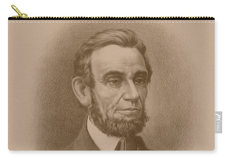 Abraham Lincoln Carry-all Pouch featuring the drawing Abraham Lincoln - Savior Of His Country by War Is Hell Store
