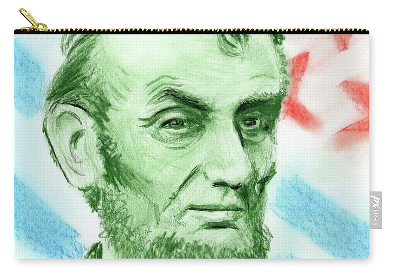 Abraham Lincoln Carry-all Pouch featuring the drawing Abraham Lincoln by Yoshiko Mishina