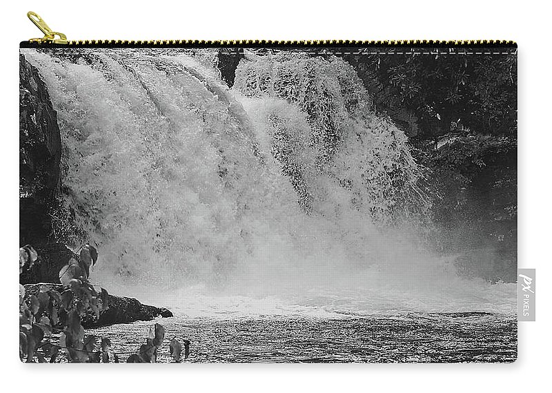 Abrams Falls Carry-all Pouch featuring the digital art Abrams Falls Cades Cove Tn Black And White by DigiArt Diaries by Vicky B Fuller