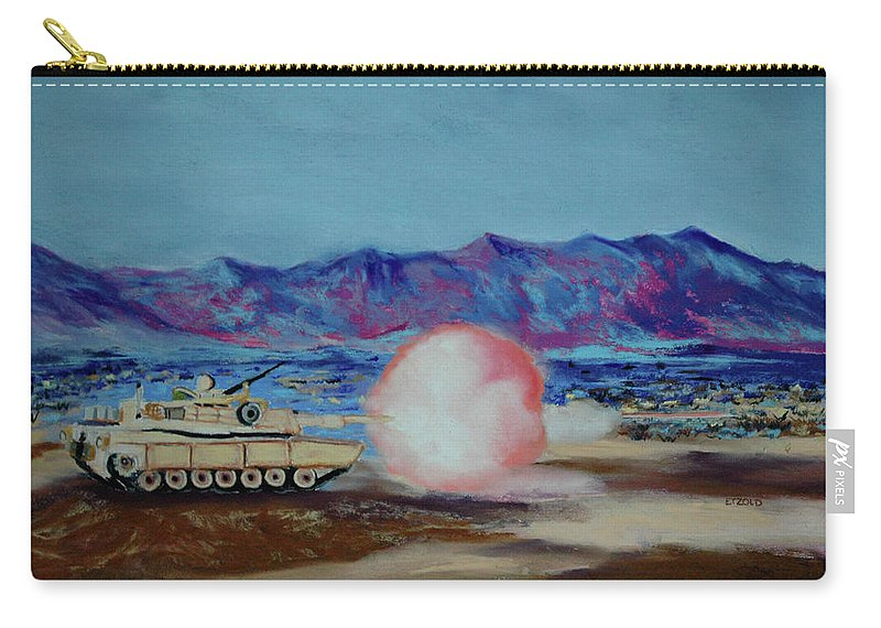 Tank Carry-all Pouch featuring the painting Abrams Firing by Melinda Etzold