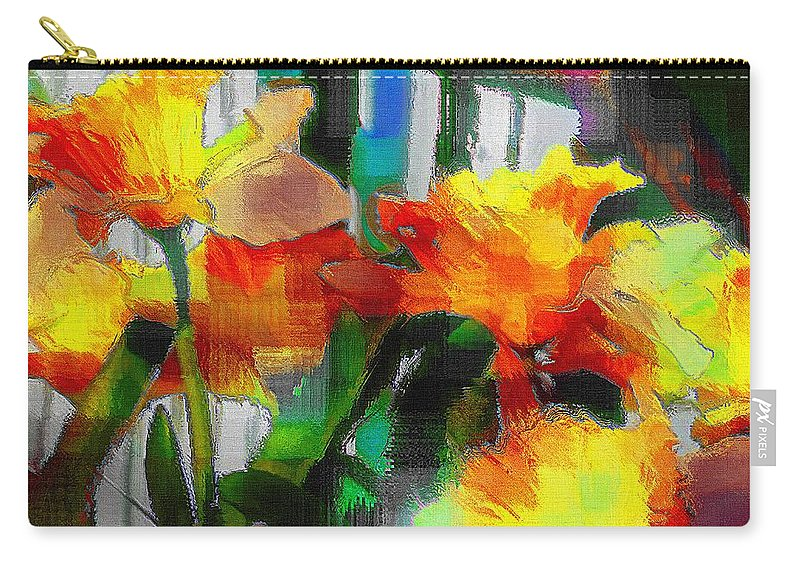 Absinthe Carry-all Pouch featuring the painting Absinthe Daffies by RC DeWinter