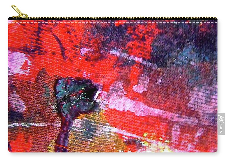 Red Carry-all Pouch featuring the painting Abstract 6539 by Stephanie Moore