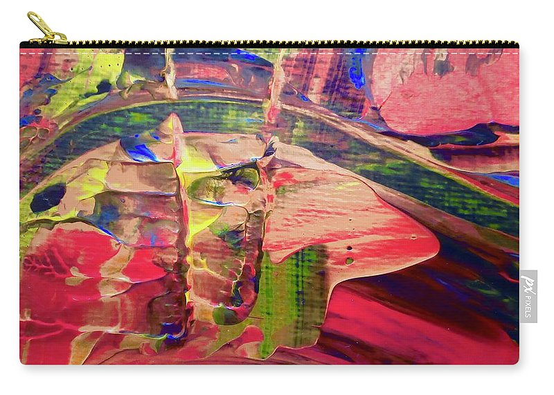 Red Carry-all Pouch featuring the painting Abstract 9096 by Stephanie Moore