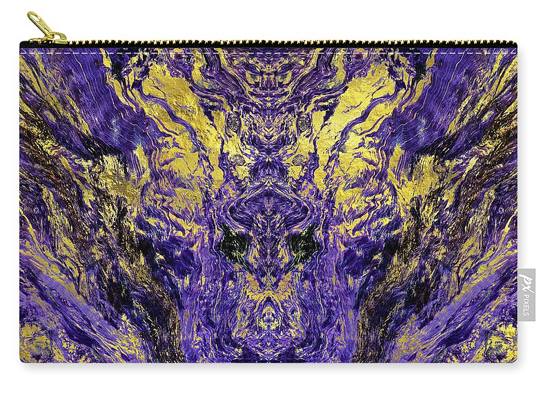 Amethyst Carry-all Pouch featuring the digital art Abstract Amethyst With Gold Marbled Texture by Creativemotions