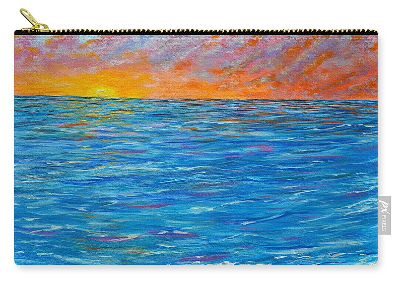 Abstract Ocean Carry-all Pouch featuring the painting Abstract Art- Flaming Ocean by Kathy Symonds