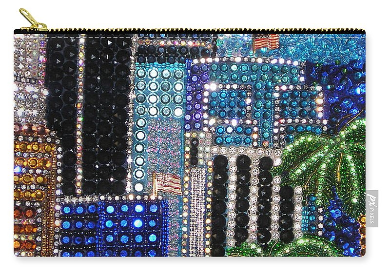 Los Angeles Carry-all Pouch featuring the painting Los Angeles. Rhinestone Mosaic With Beadwork by Sofia Metal Queen