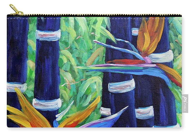 Art Carry-all Pouch featuring the painting Abstract Bamboo And Birds Of Paradise 04 by Richard T Pranke