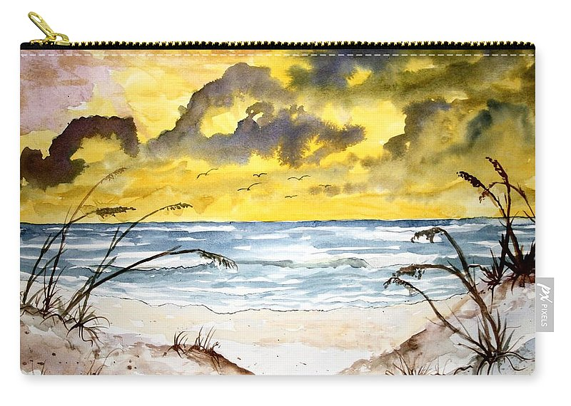 Beach Carry-all Pouch featuring the painting Abstract Beach Sand Dunes by Derek Mccrea