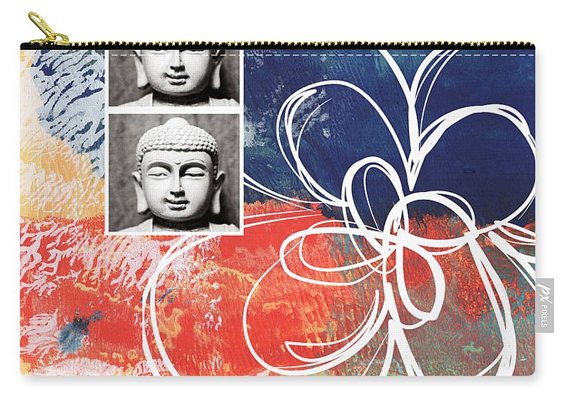 Buddha Carry-all Pouch featuring the mixed media Abstract Buddha by Linda Woods