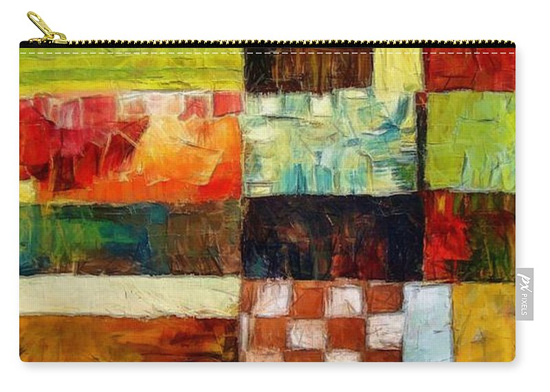 Patchwork Carry-all Pouch featuring the painting Abstract Color Study With Checkerboard And Stripes by Michelle Calkins
