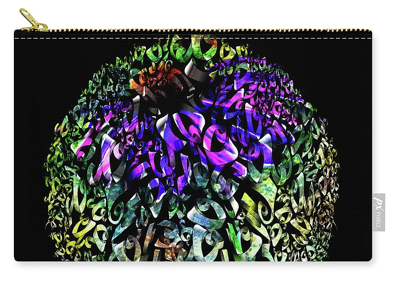 Abstract Cone Flower Digital Painting Carry-all Pouch featuring the painting Abstract Cone Flower Digital Painting A262016 by Mas Art Studio
