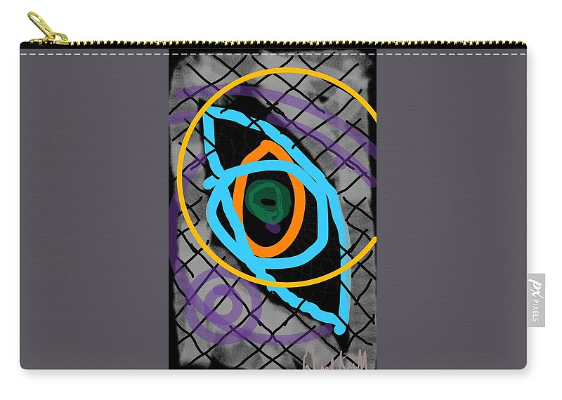 Eye Circle Modern Purple Yellow Green Blue Grey Carry-all Pouch featuring the digital art Abstract Eye by David R Keith